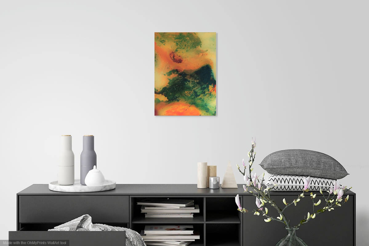 Abstract in Green and Orange by Patrick Irish | ArtworkNetwork.com