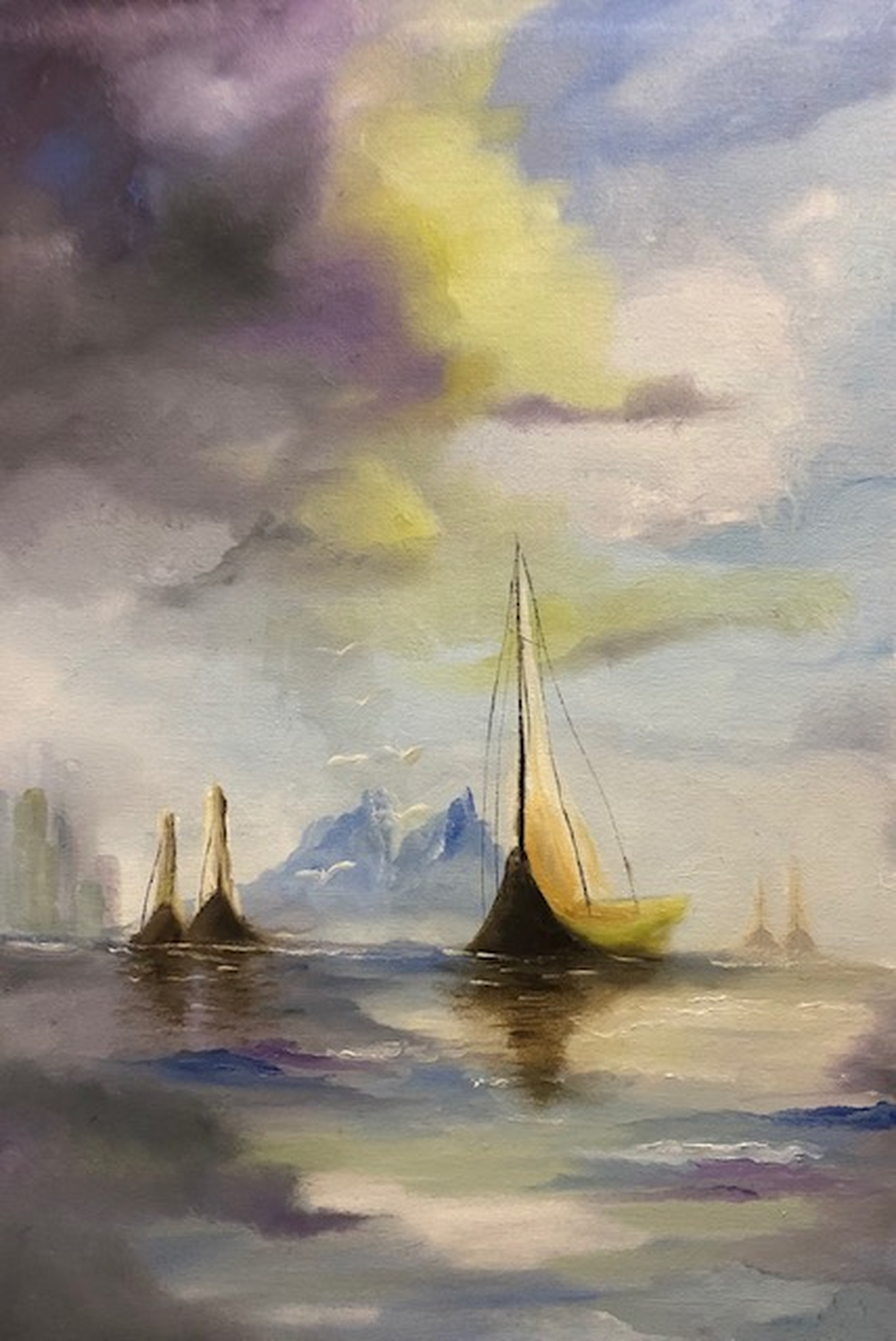 Sailboats outside Barcelona by Patrick Irish | ArtworkNetwork.com