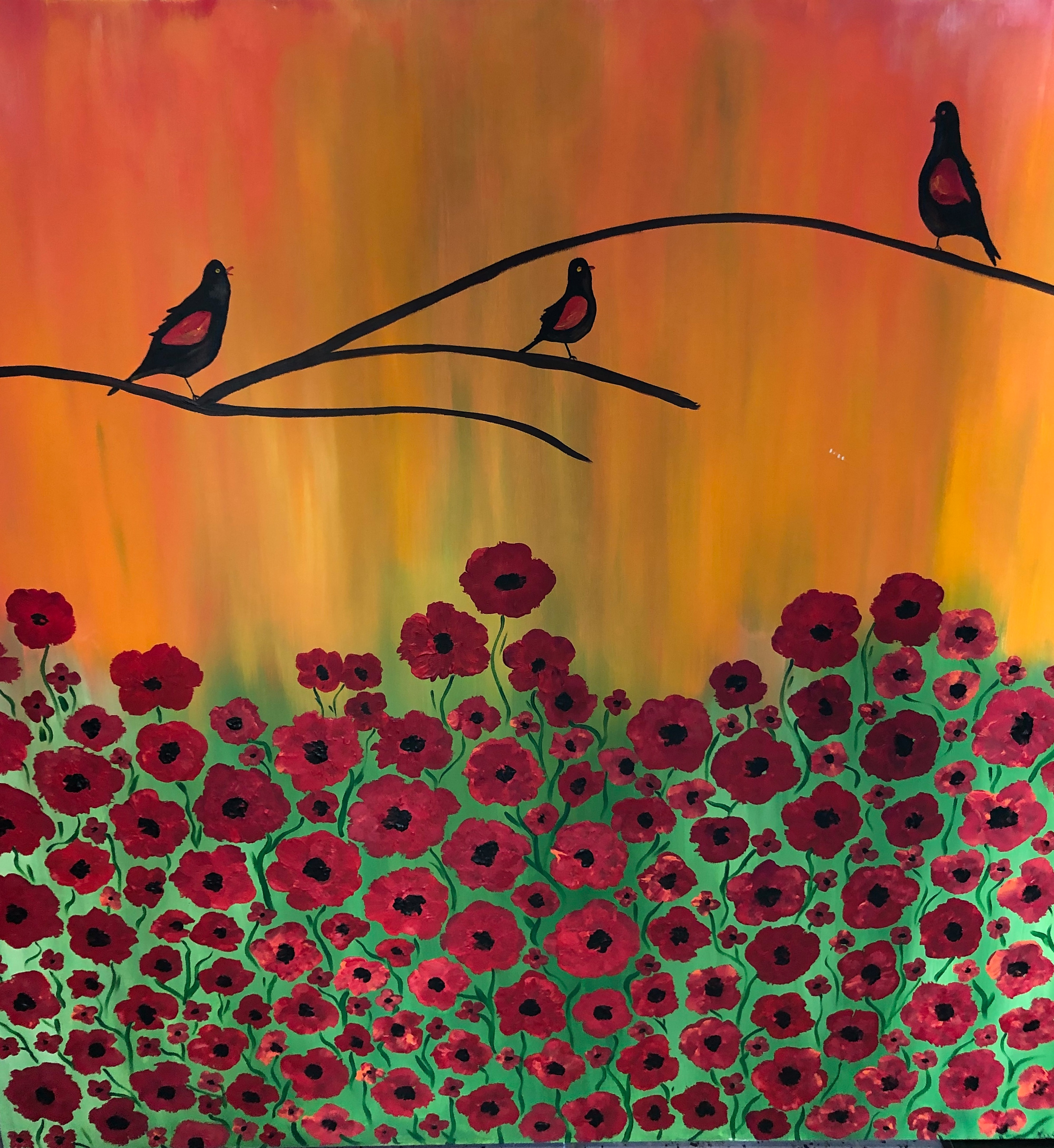 Red Winged Black Birds by Marylin Kitchen | ArtworkNetwork.com