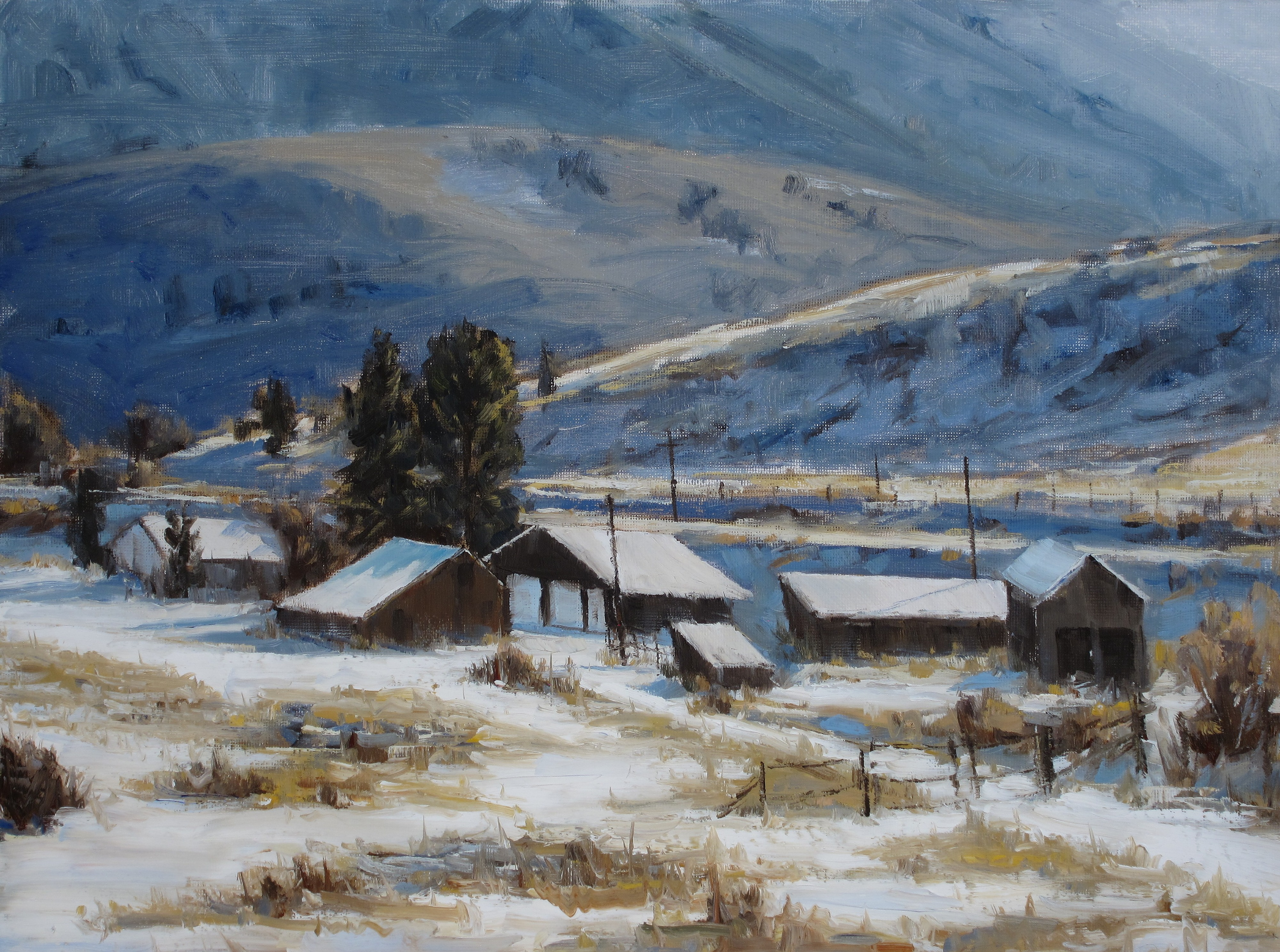 Chilly Morning Lyons Homestead by Greta Balzer | ArtworkNetwork.com