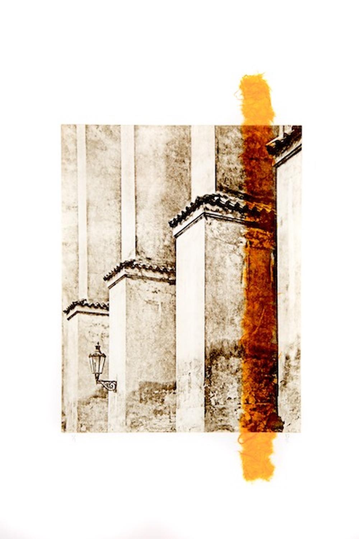 Lantern in Prague (chine-collé) by Bruce Zander | ArtworkNetwork.com