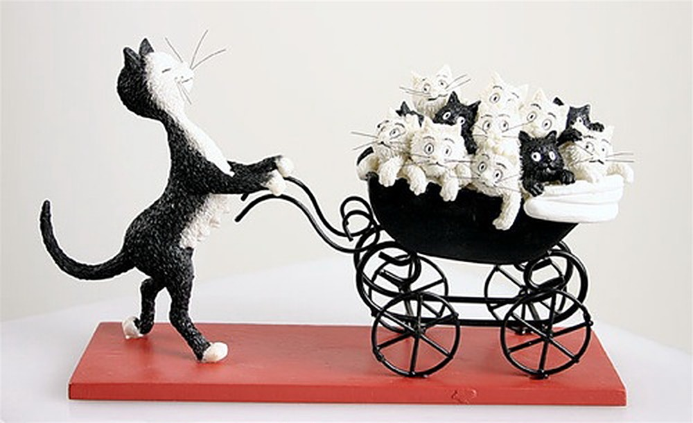 Momma Cat Pushing Baby Carriage with Kittens Figurine by Albert Allen | ArtworkNetwork.com