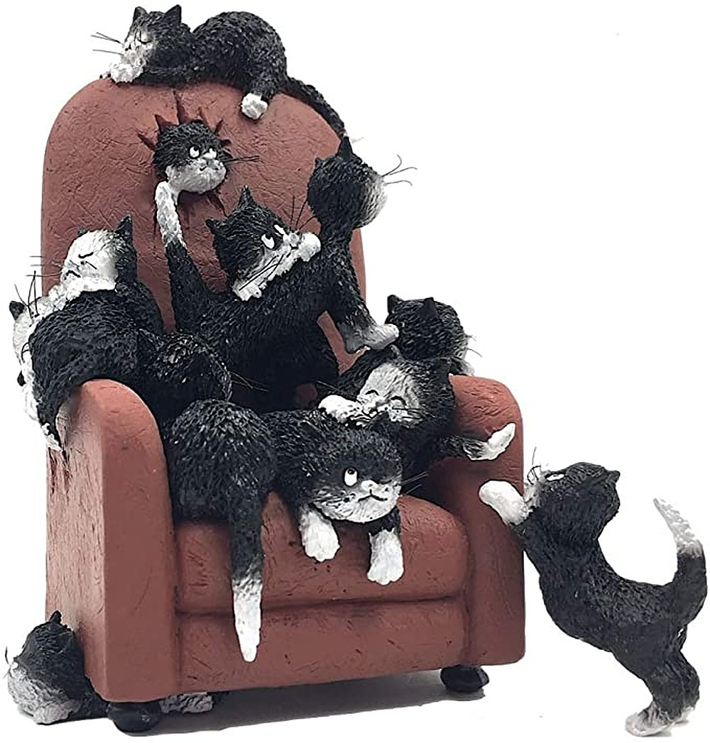 Cats Kittens on a High back Chair Save Me a Seat Funny Figurine by Albert Allen | ArtworkNetwork.com