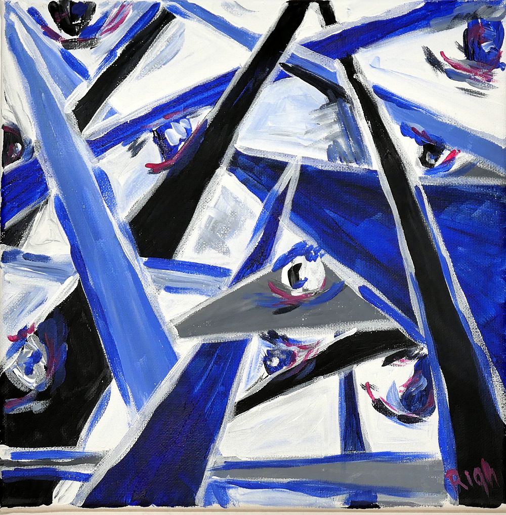 Triangles and eyes (blue) by Anca Rightmire | ArtworkNetwork.com