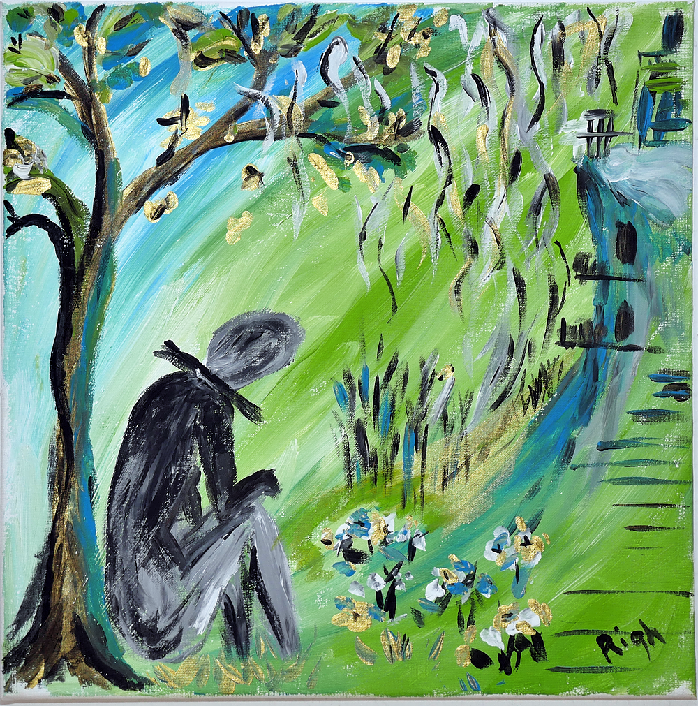 Man under tree (Green) by Anca Rightmire | ArtworkNetwork.com